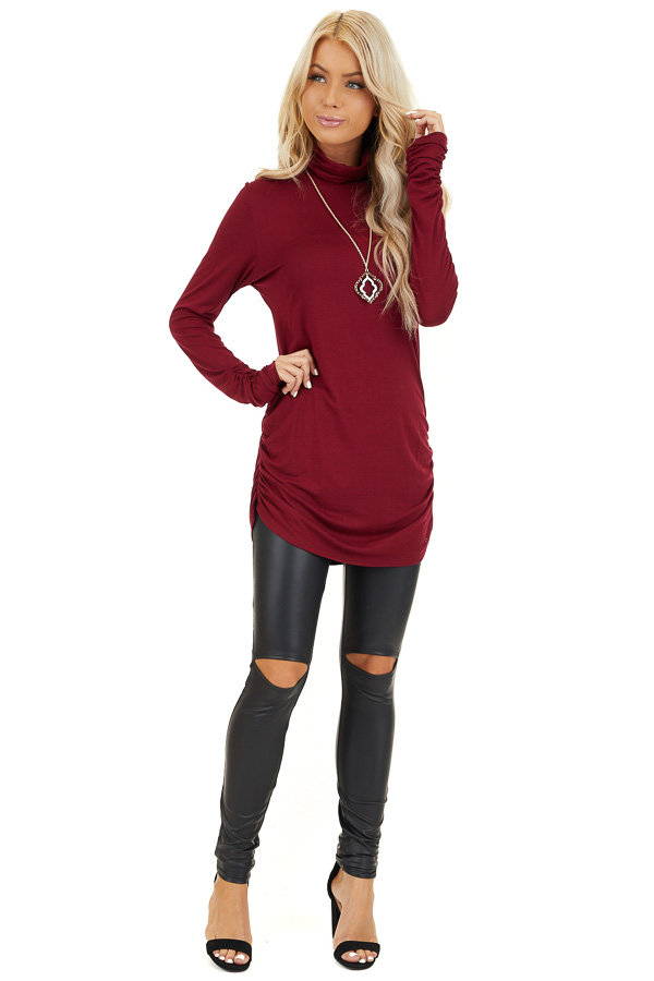 Burgundy Turtleneck Tunic Top with Side Ruching front full body