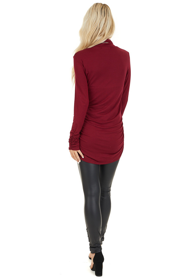 Burgundy Turtleneck Tunic Top with Side Ruching back full body