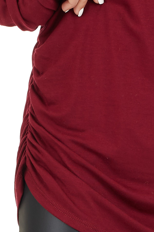 Burgundy Turtleneck Tunic Top with Side Ruching detail