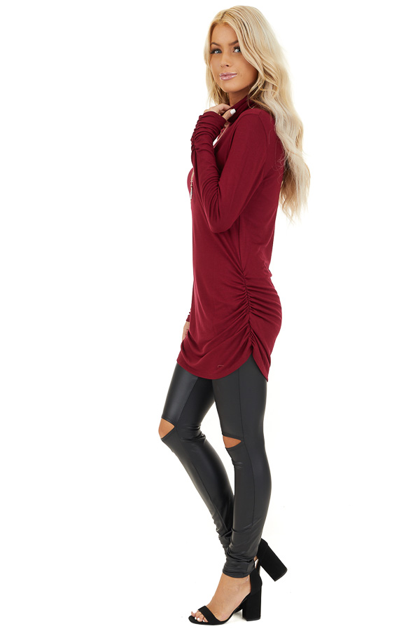 Burgundy Turtleneck Tunic Top with Side Ruching side full body