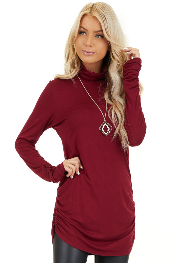 Burgundy Turtleneck Tunic Top with Side Ruching front close up