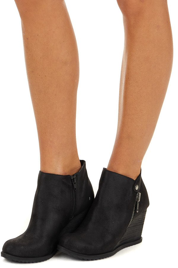 Black Wedge Booties with Zipper and Button Details side view