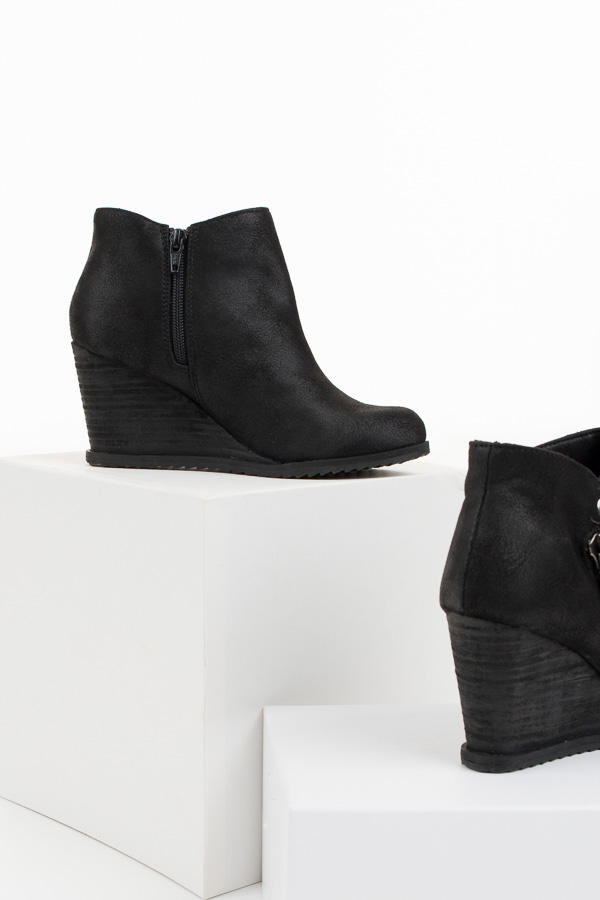 Black Wedge Booties with Zipper and Button Details