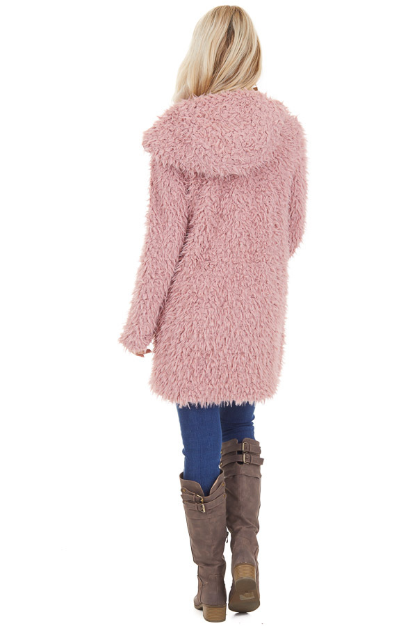 Rose Pink Faux Fur Hooded Long Sleeve Jacket with Pockets back full body