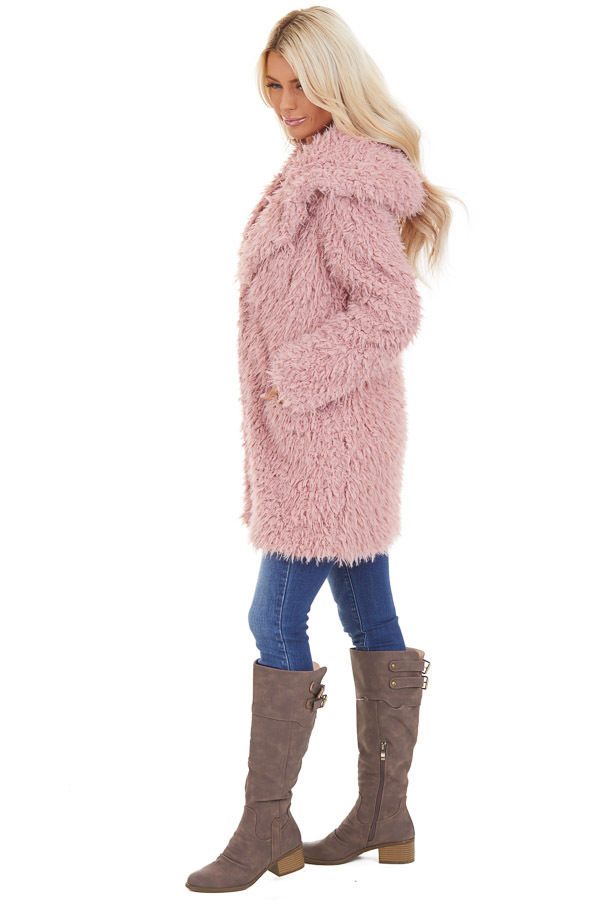 Rose Pink Faux Fur Hooded Long Sleeve Jacket with Pockets side full body