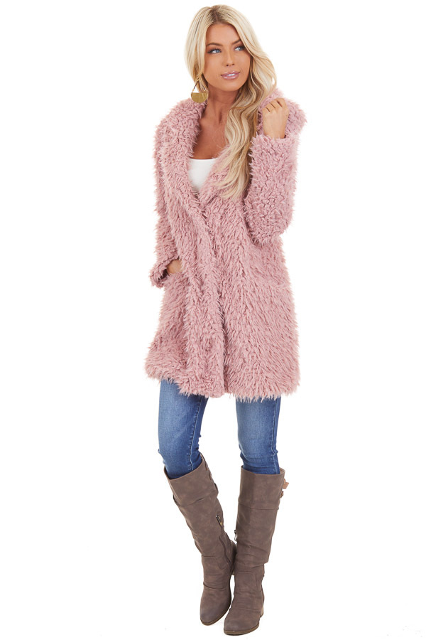 Rose Pink Faux Fur Hooded Long Sleeve Jacket with Pockets front full body