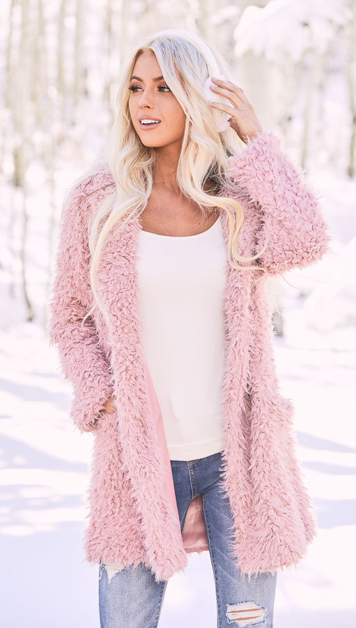 Rose Pink Faux Fur Hooded Long Sleeve Jacket with Pockets Creative