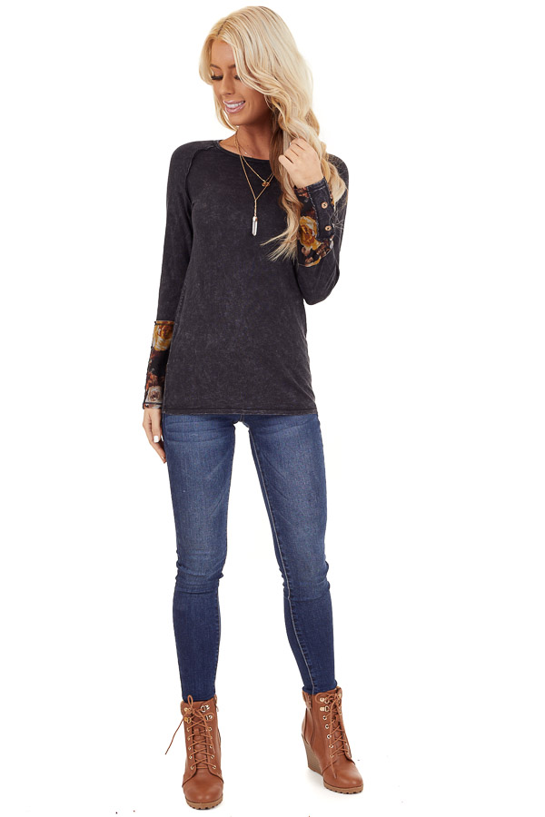 Charcoal Mineral Wash Long Sleeve Top with Floral Contrast front full body