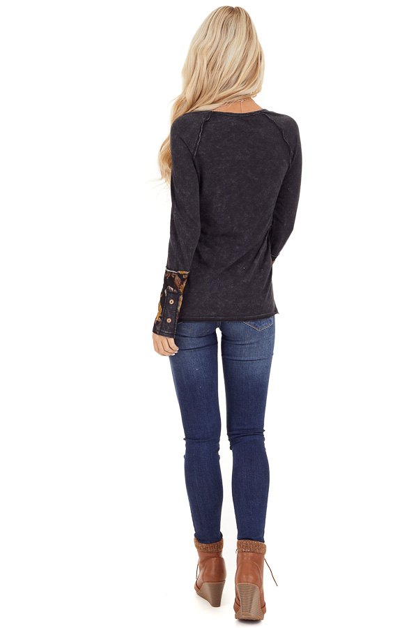 Charcoal Mineral Wash Long Sleeve Top with Floral Contrast back full body