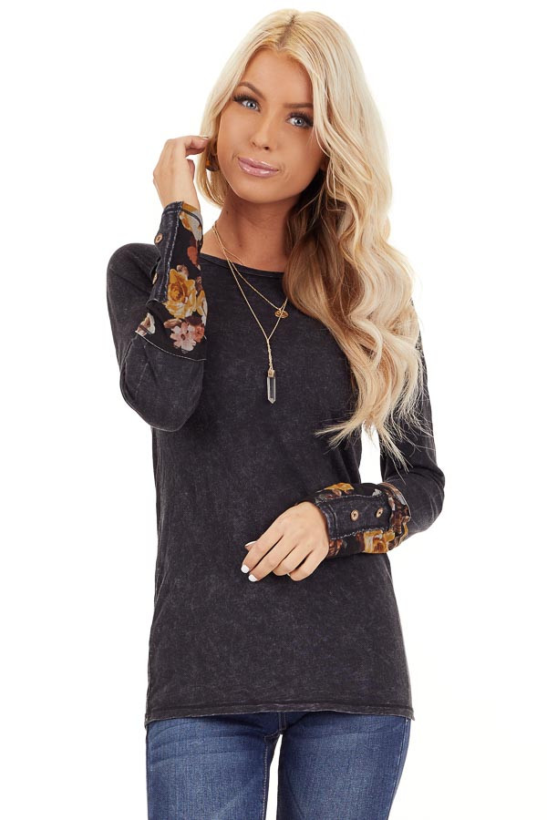 Charcoal Mineral Wash Long Sleeve Top with Floral Contrast front close up