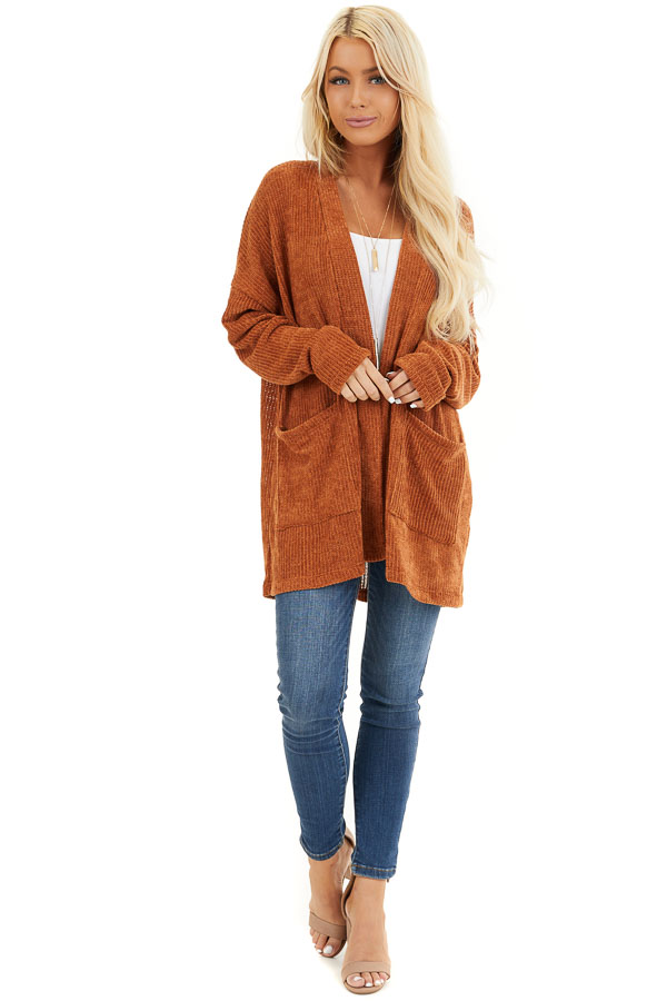 Rust Long Sleeve Chenille Cardigan with Pockets front full body