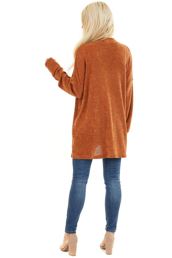 Rust Long Sleeve Chenille Cardigan with Pockets back full body