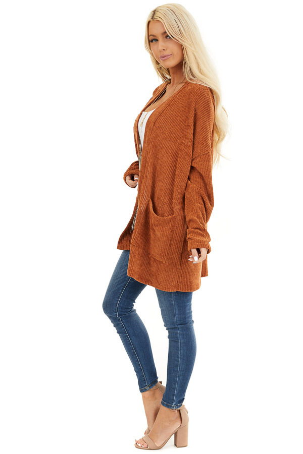 Rust Long Sleeve Chenille Cardigan with Pockets side full body