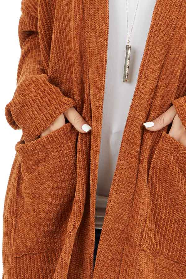 Rust Long Sleeve Chenille Cardigan with Pockets detail