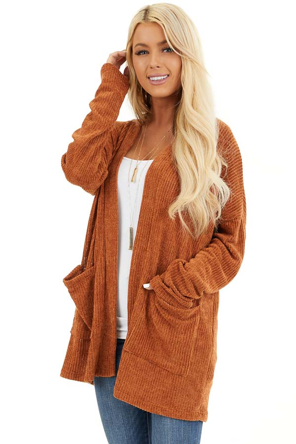 Rust Long Sleeve Chenille Cardigan with Pockets front close up