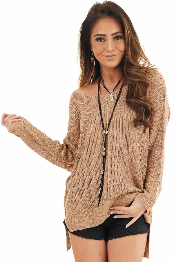 Toffee Long Sleeve Knit Top with Side Slits and Exposed Seam front close up
