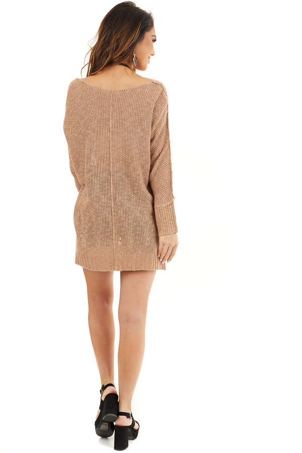 Toffee Long Sleeve Knit Top with Side Slits and Exposed Seam back full body