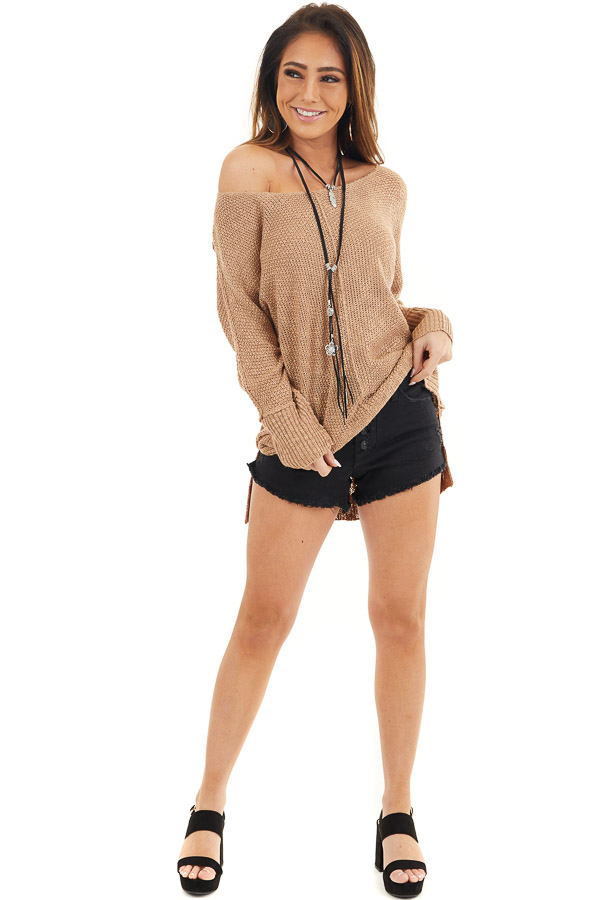 Toffee Long Sleeve Knit Top with Side Slits and Exposed Seam front full body