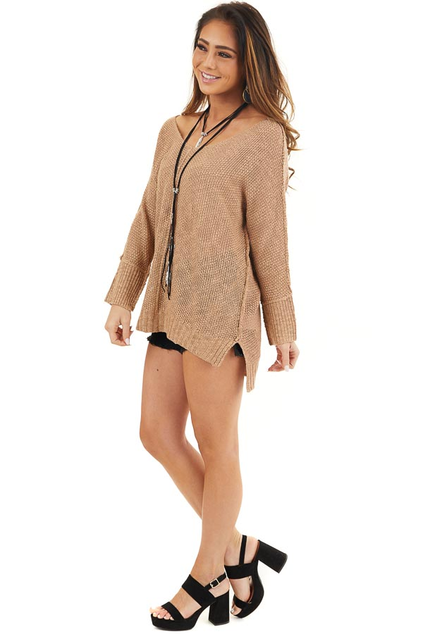 Toffee Long Sleeve Knit Top with Side Slits and Exposed Seam side full body