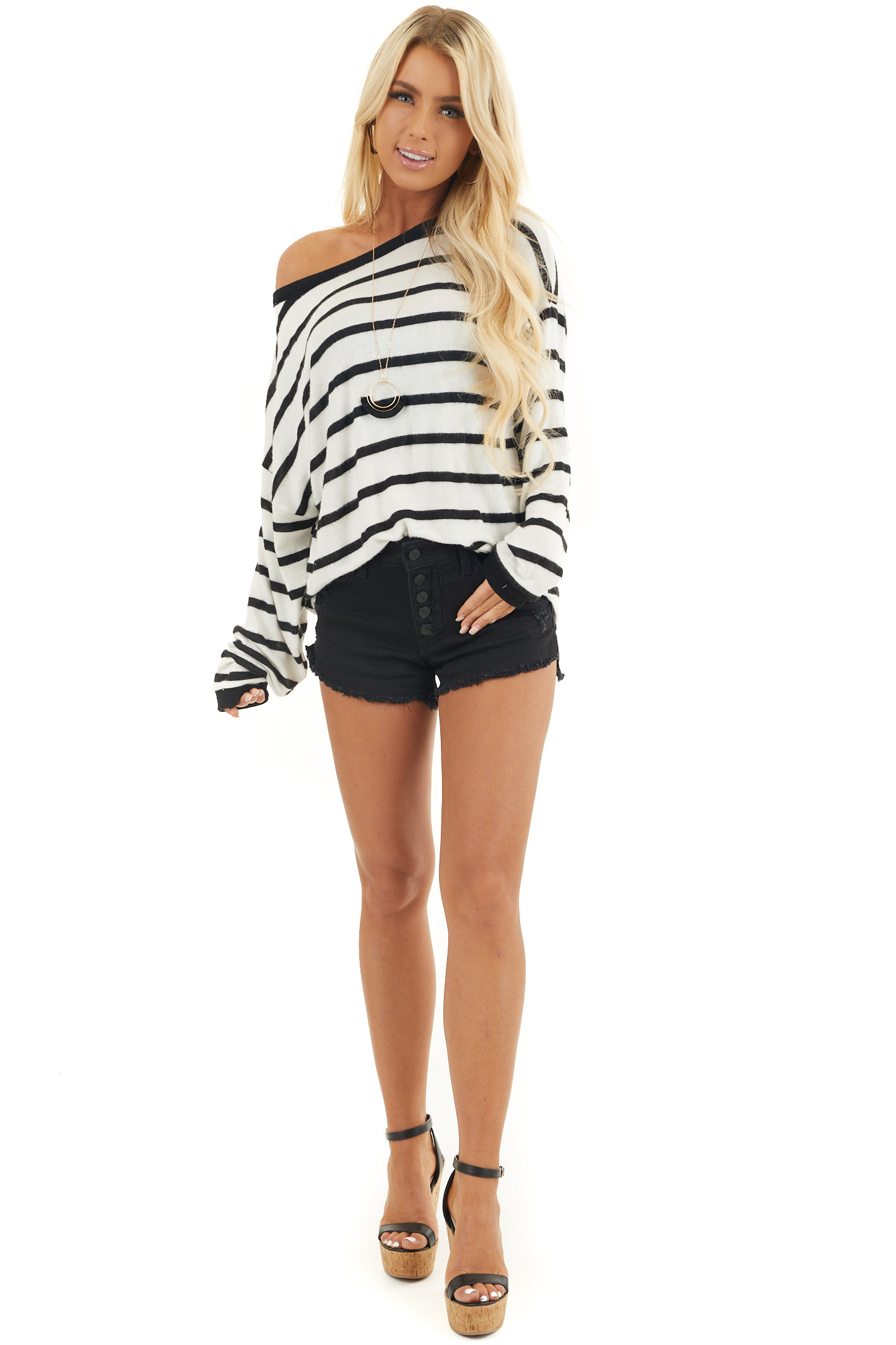 Off White and Black Stripe Long Sleeve Loose Knit Top