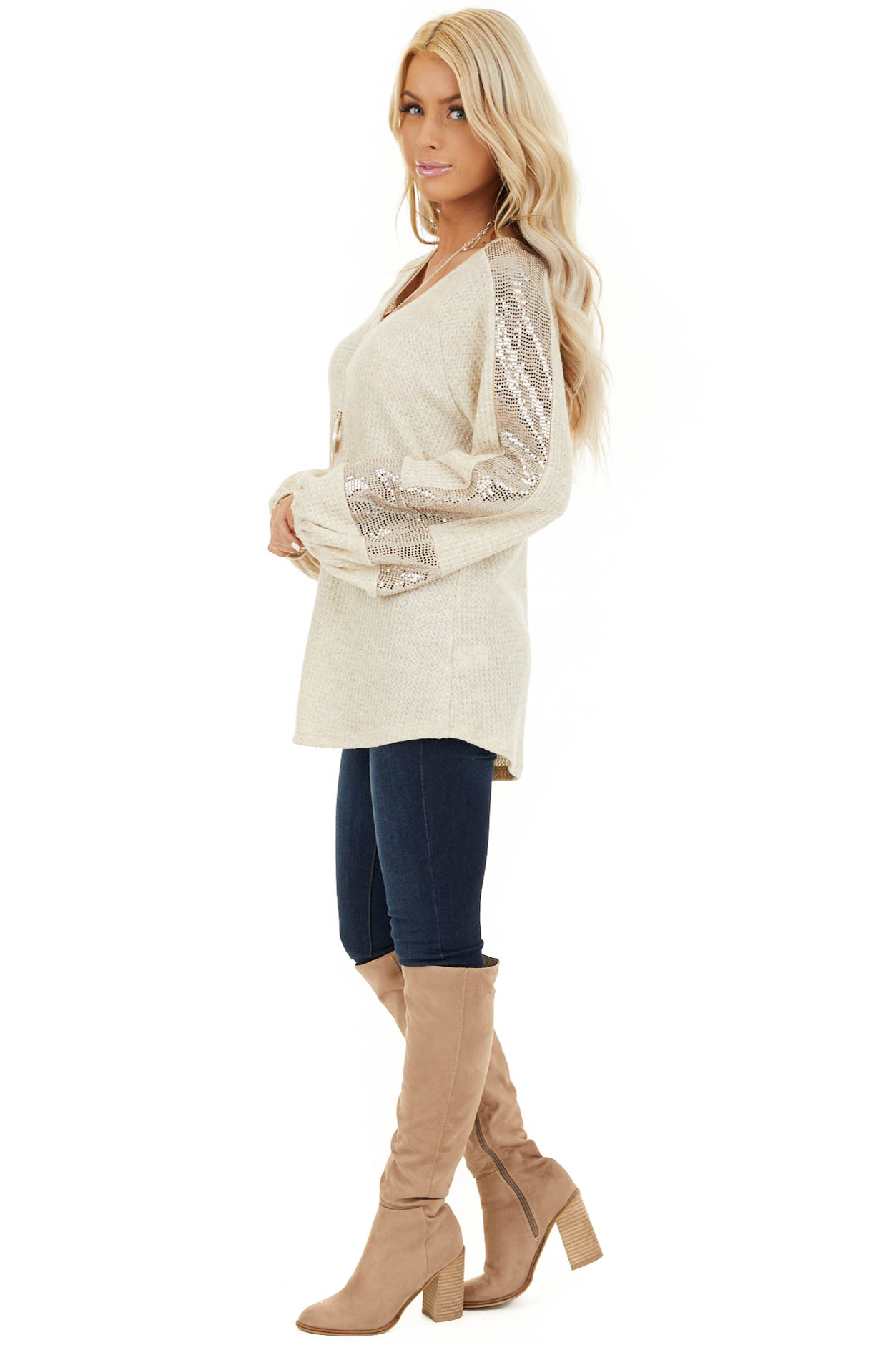 Ivory Waffle Knit Top with Sequined Bubble Sleeves side full body