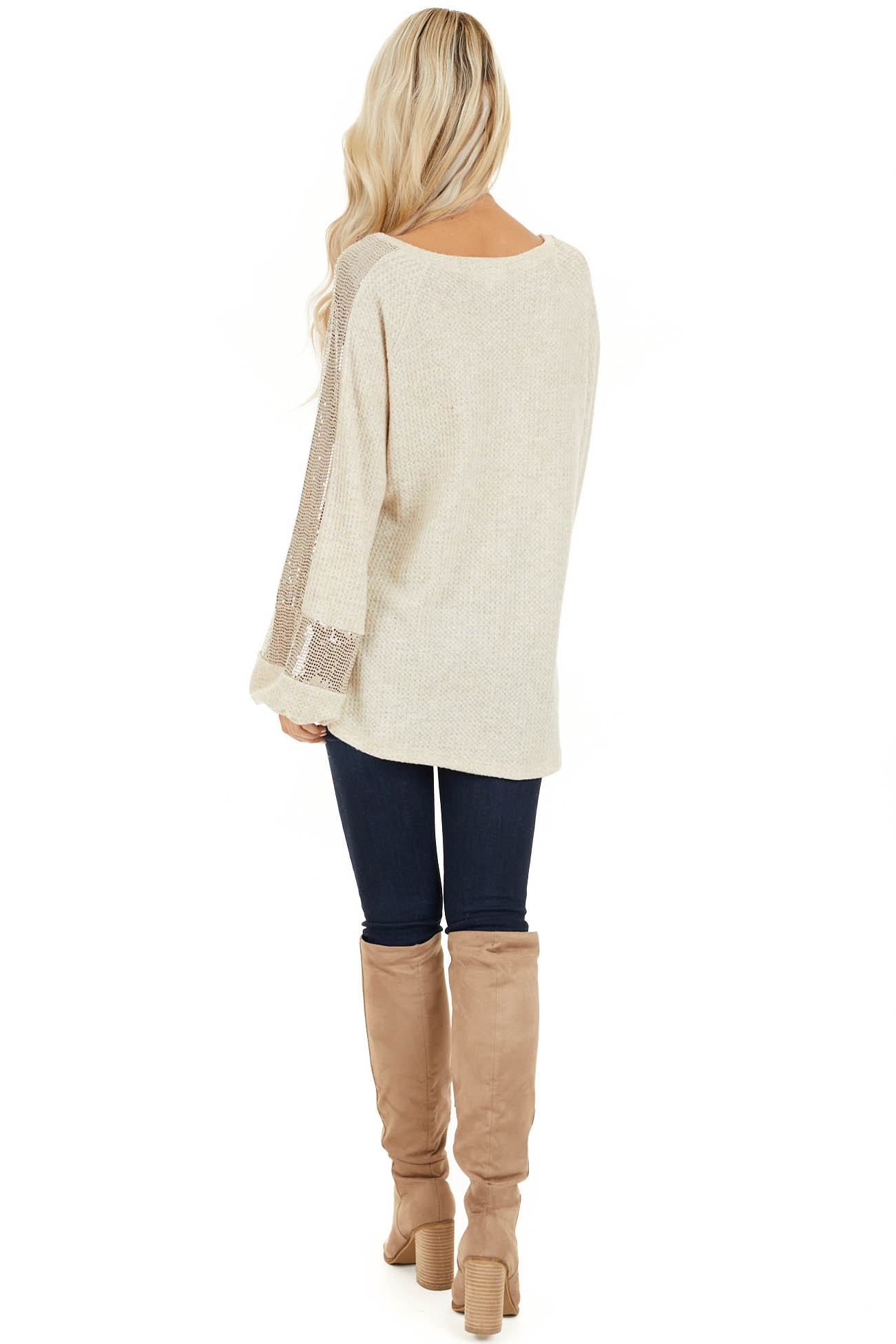 Ivory Waffle Knit Top with Sequined Bubble Sleeves back full body