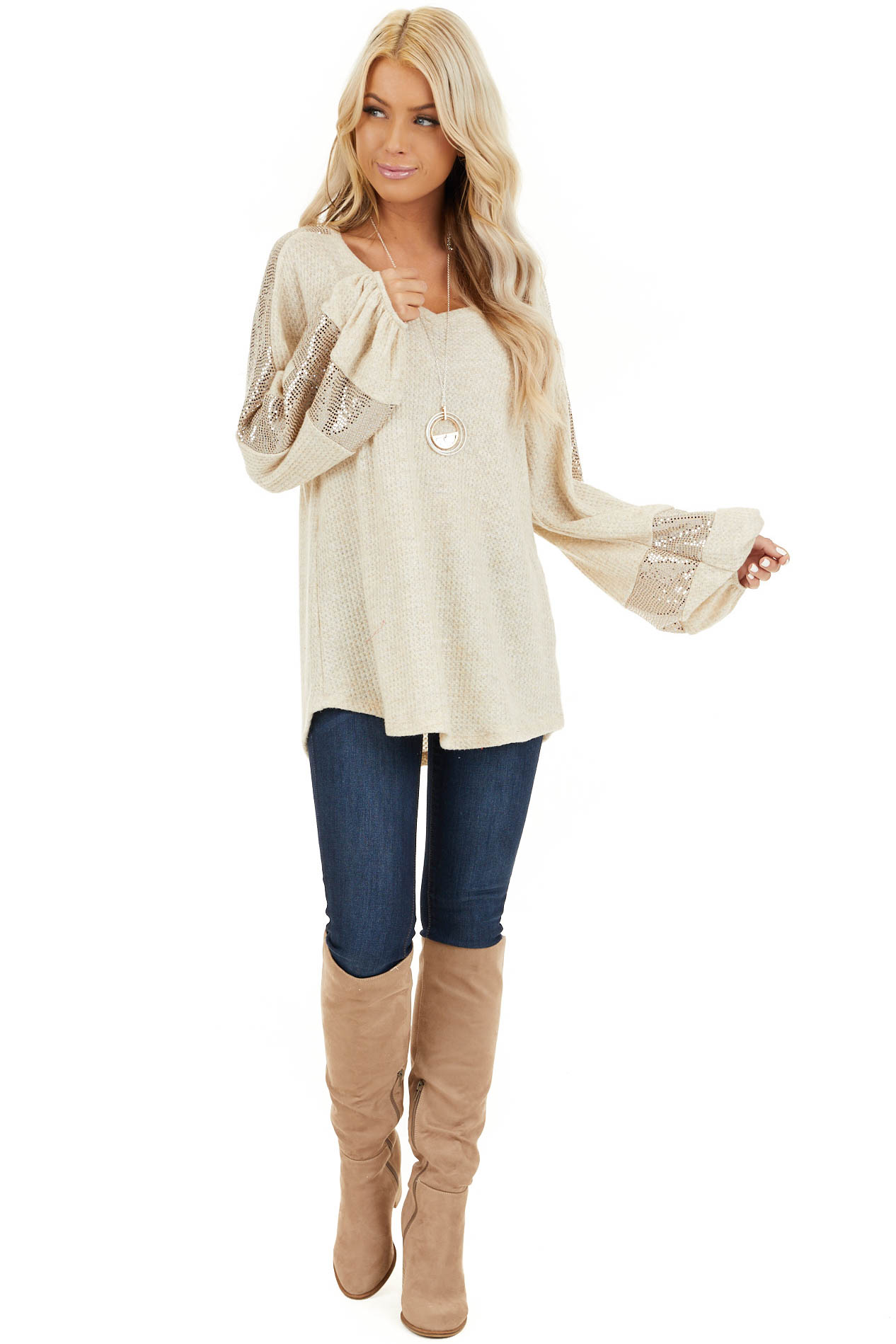 Ivory Waffle Knit Top with Sequined Bubble Sleeves front full body