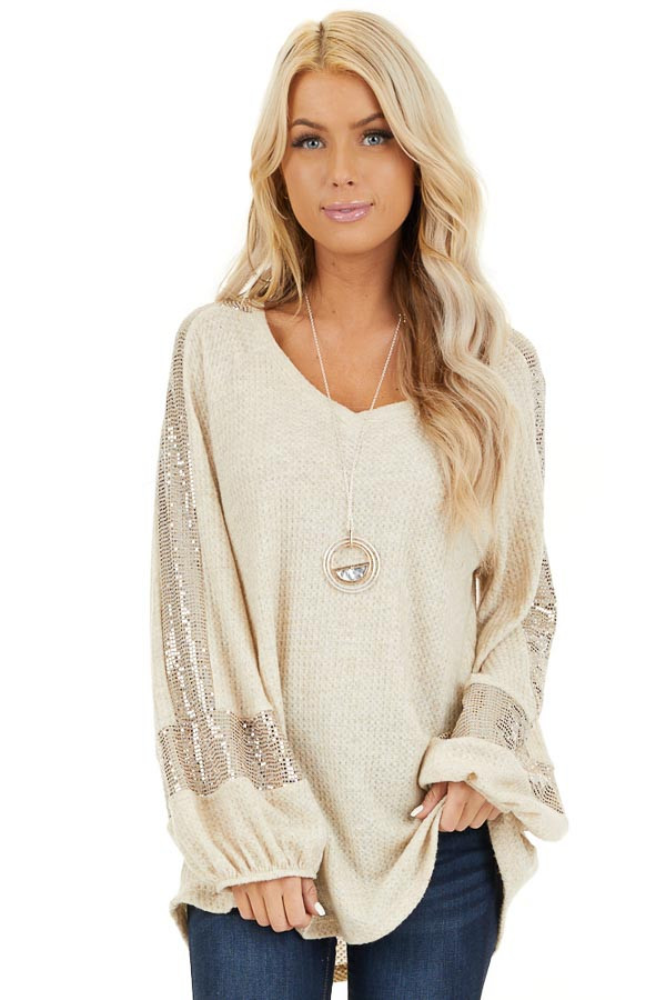 Ivory Waffle Knit Top with Sequined Bubble Sleeves front close up