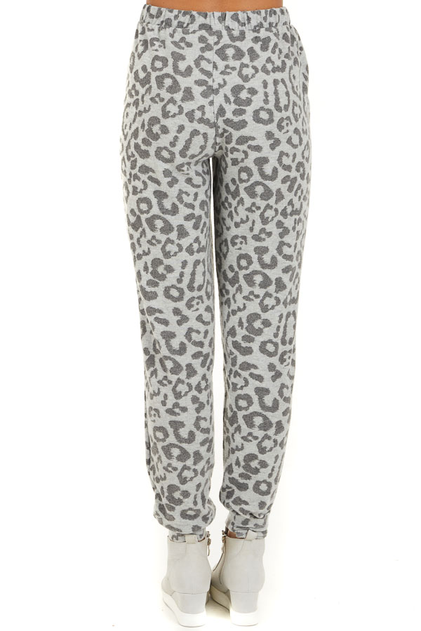 Dove Grey Comfy Leopard Print Joggers with Side Pockets back view