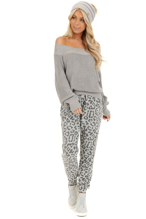 Dove Grey Comfy Leopard Print Joggers with Side Pockets front full body