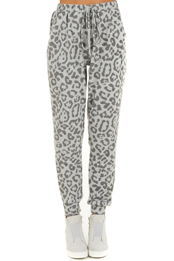 Dove Grey Comfy Leopard Print Joggers with Side Pockets front view