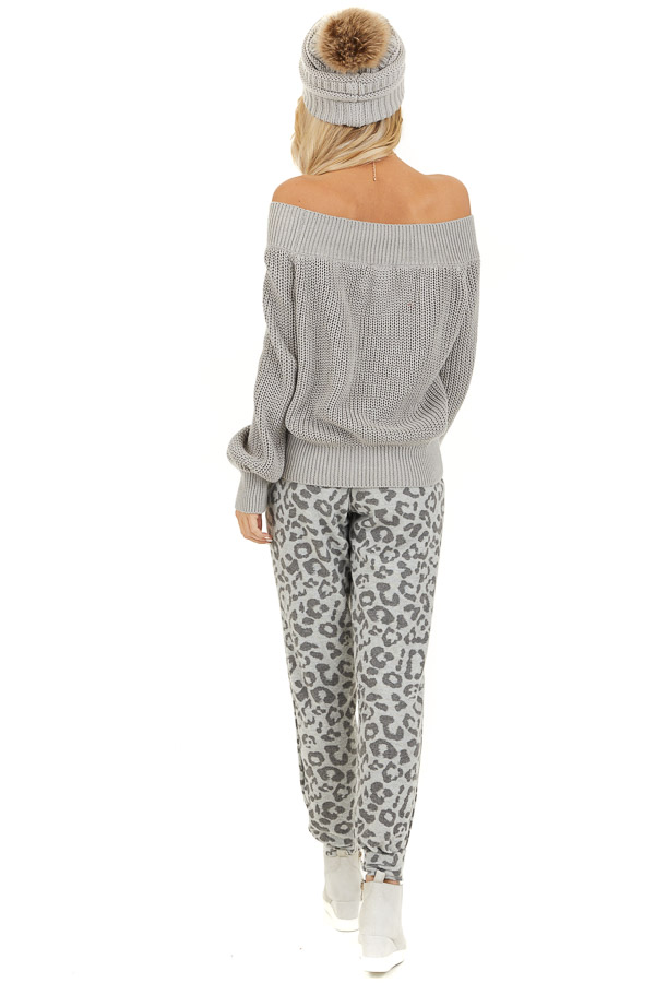 Dove Grey Comfy Leopard Print Joggers with Side Pockets back full body