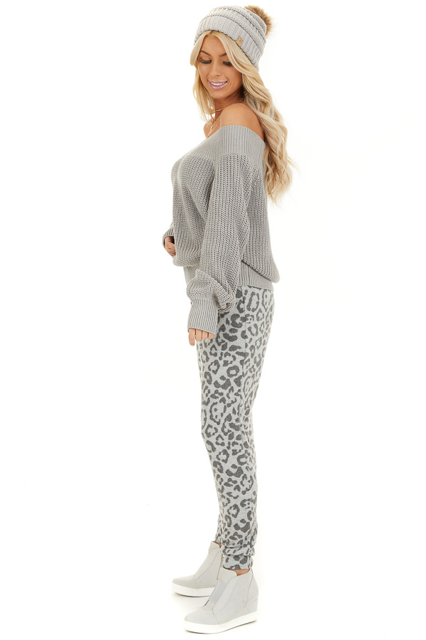 Dove Grey Comfy Leopard Print Joggers with Side Pockets side full body