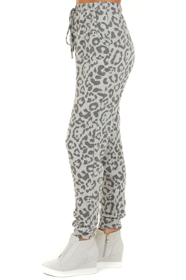 Dove Grey Comfy Leopard Print Joggers with Side Pockets side view