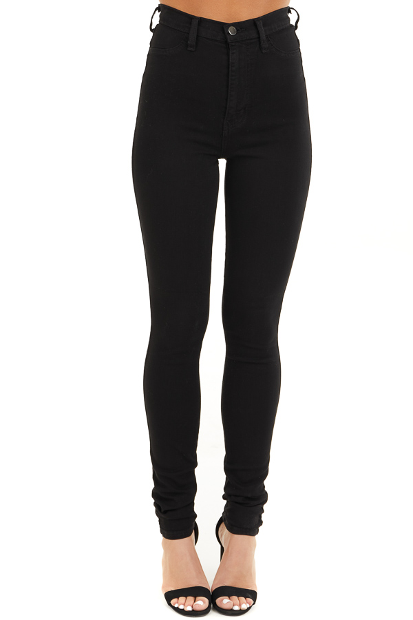 Black High Waisted Skinny Jeans with Button Closure front view