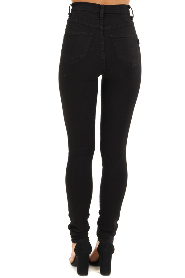 Black High Waisted Skinny Jeans with Button Closure back view