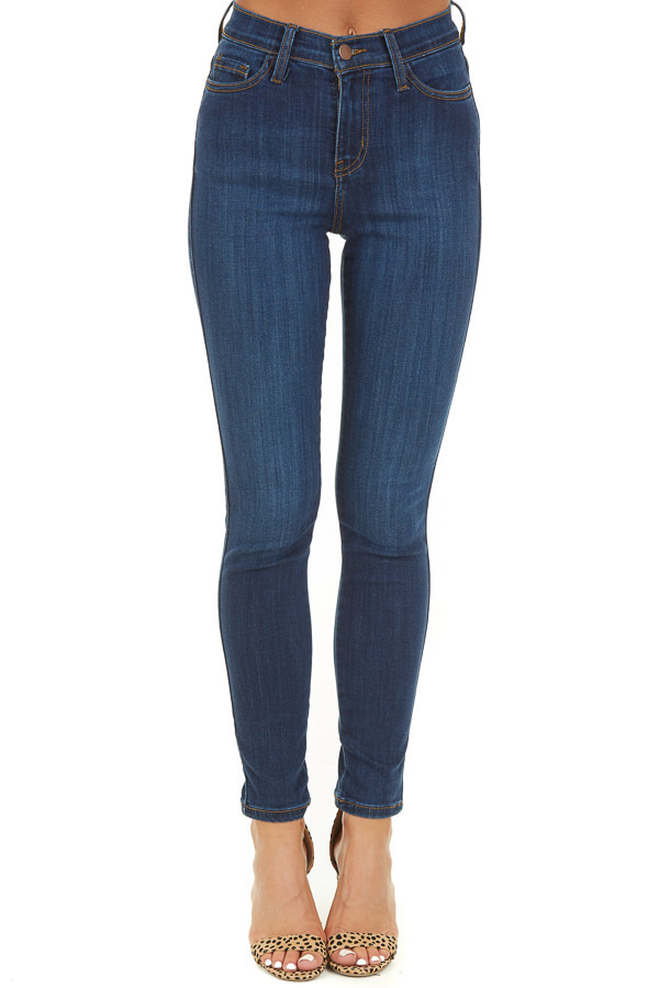 Dark Wash Skinny High Waisted Jeans with Pockets front view