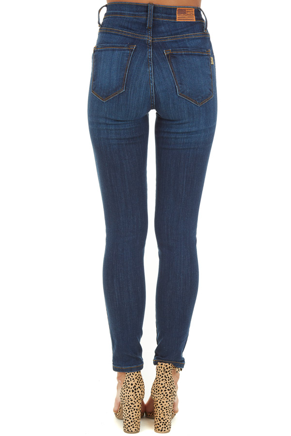 Dark Wash Skinny High Waisted Jeans with Pockets back view