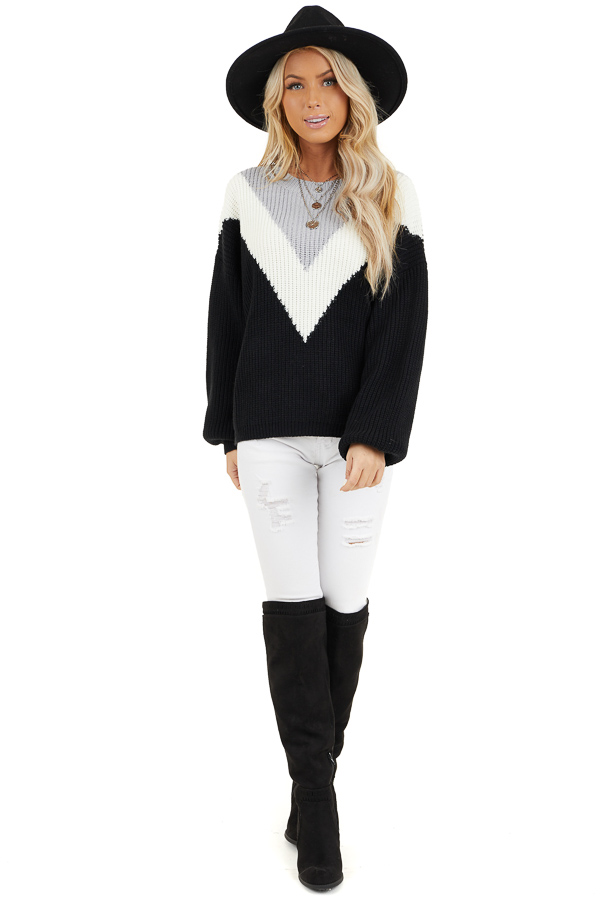 Black Knit Sweater with V Shaped Color Block Detail front full body