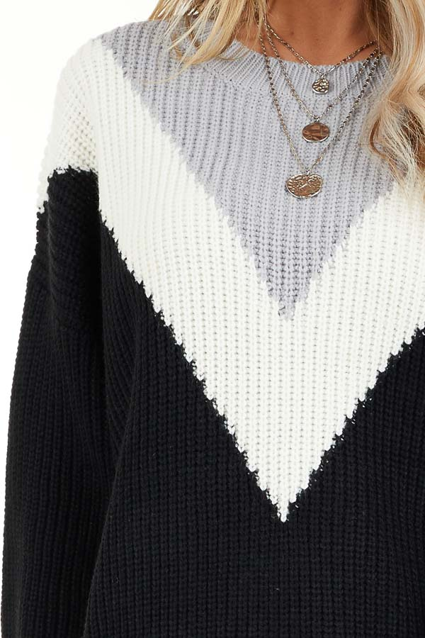 Black Knit Sweater with V Shaped Color Block Detail detail