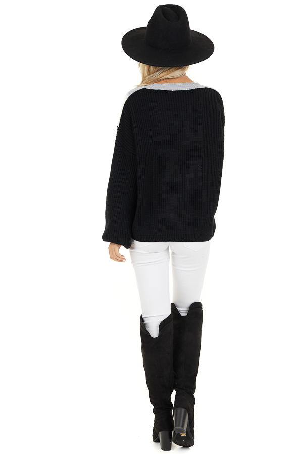 Black Knit Sweater with V Shaped Color Block Detail back full body