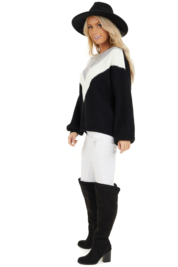 Black Knit Sweater with V Shaped Color Block Detail side full body