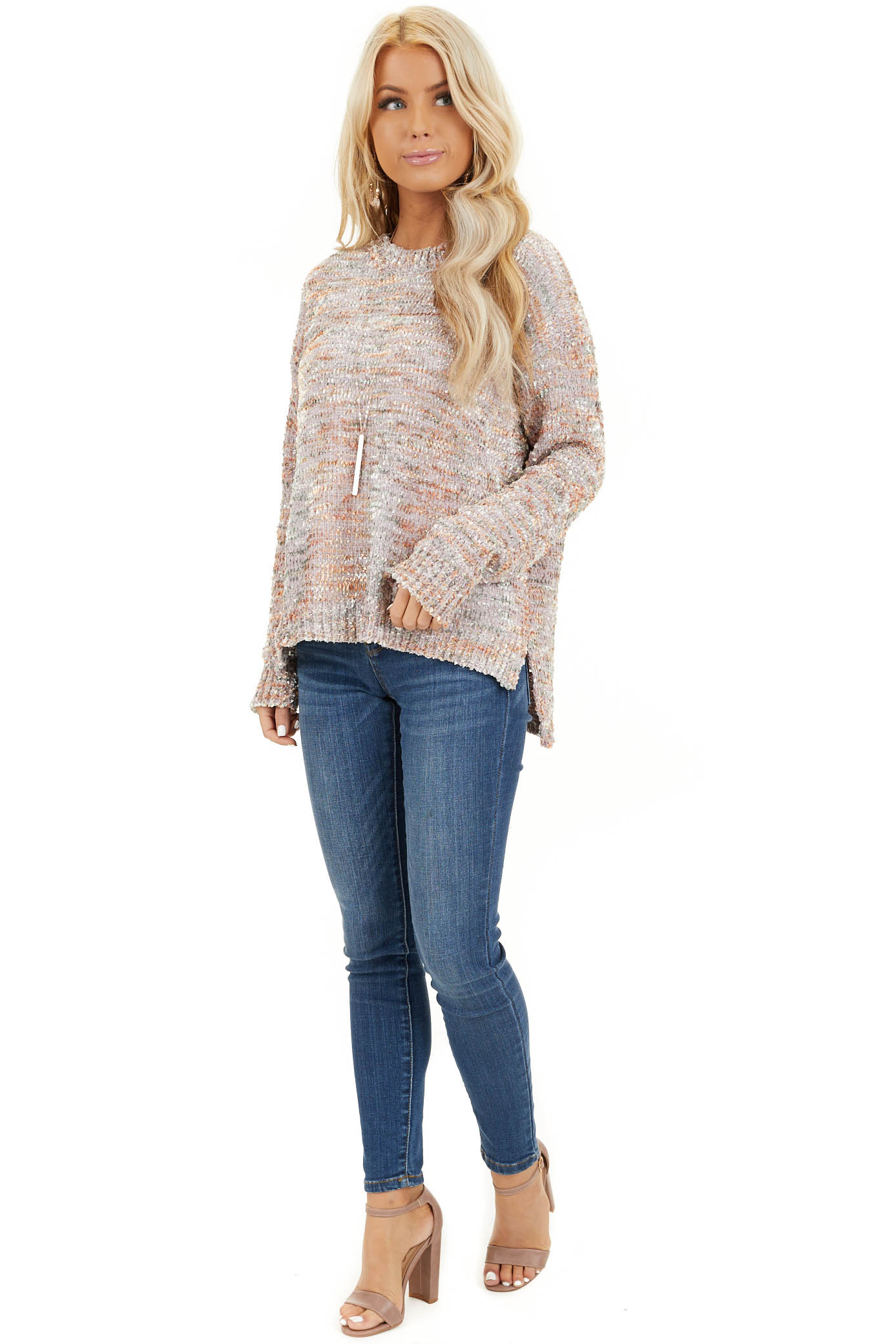 Shimmery Mauve Sage and Mango Textured Chenille Sweater front full body