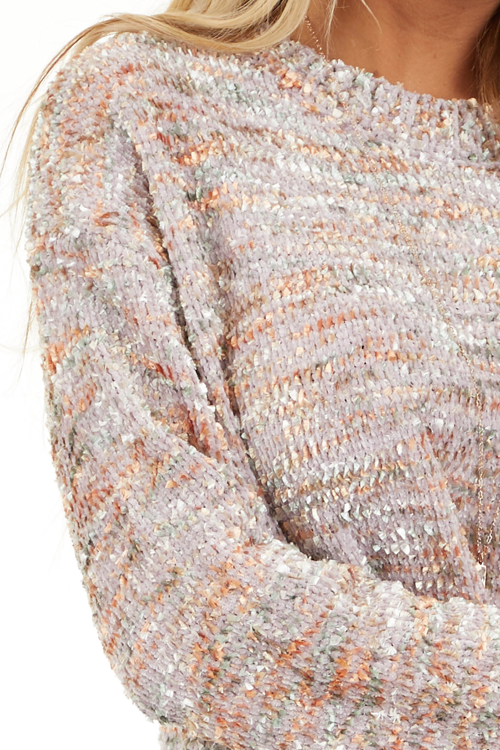 Shimmery Mauve Sage and Mango Textured Chenille Sweater detail