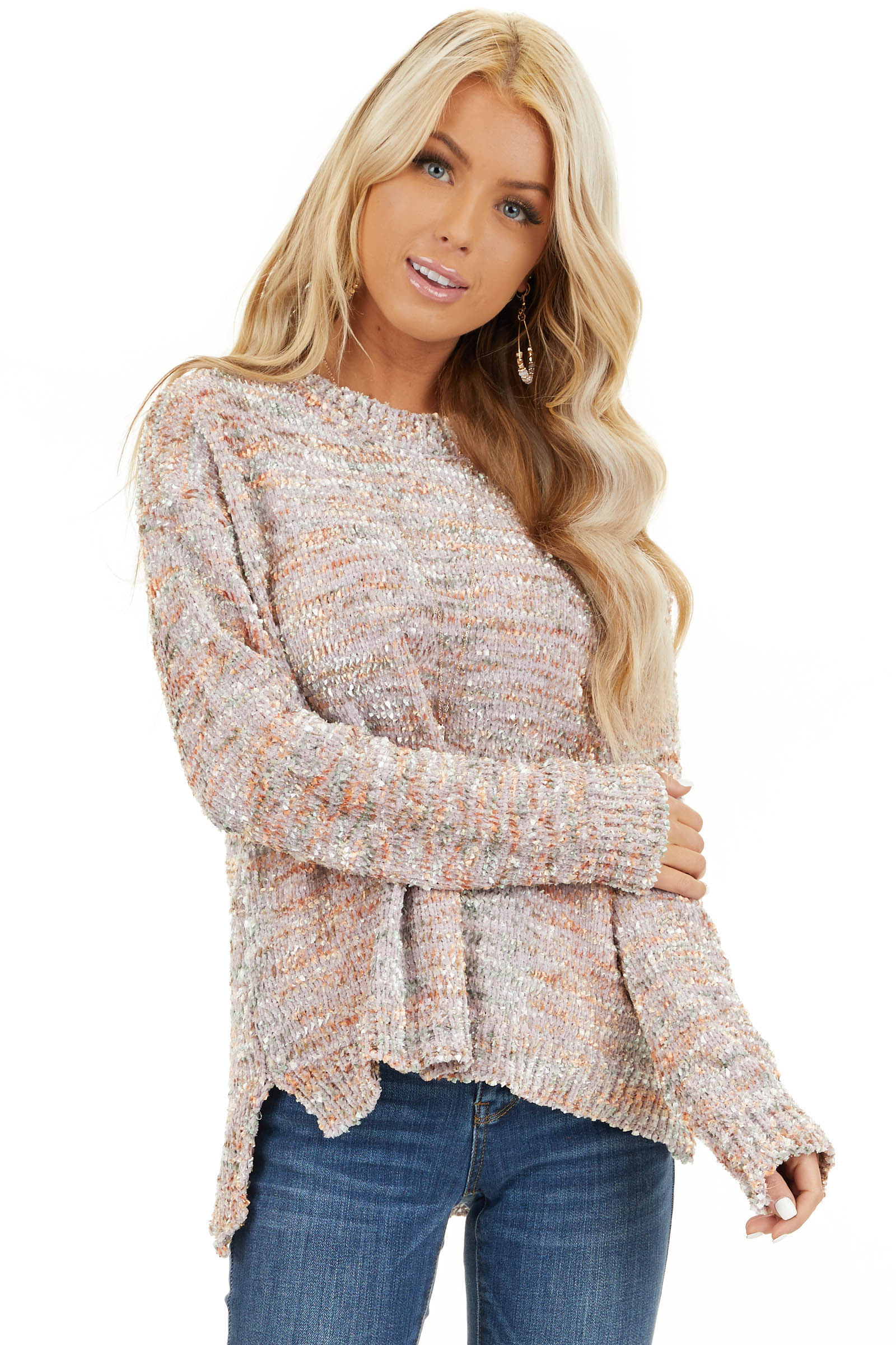 Shimmery Mauve Sage and Mango Textured Chenille Sweater front close up