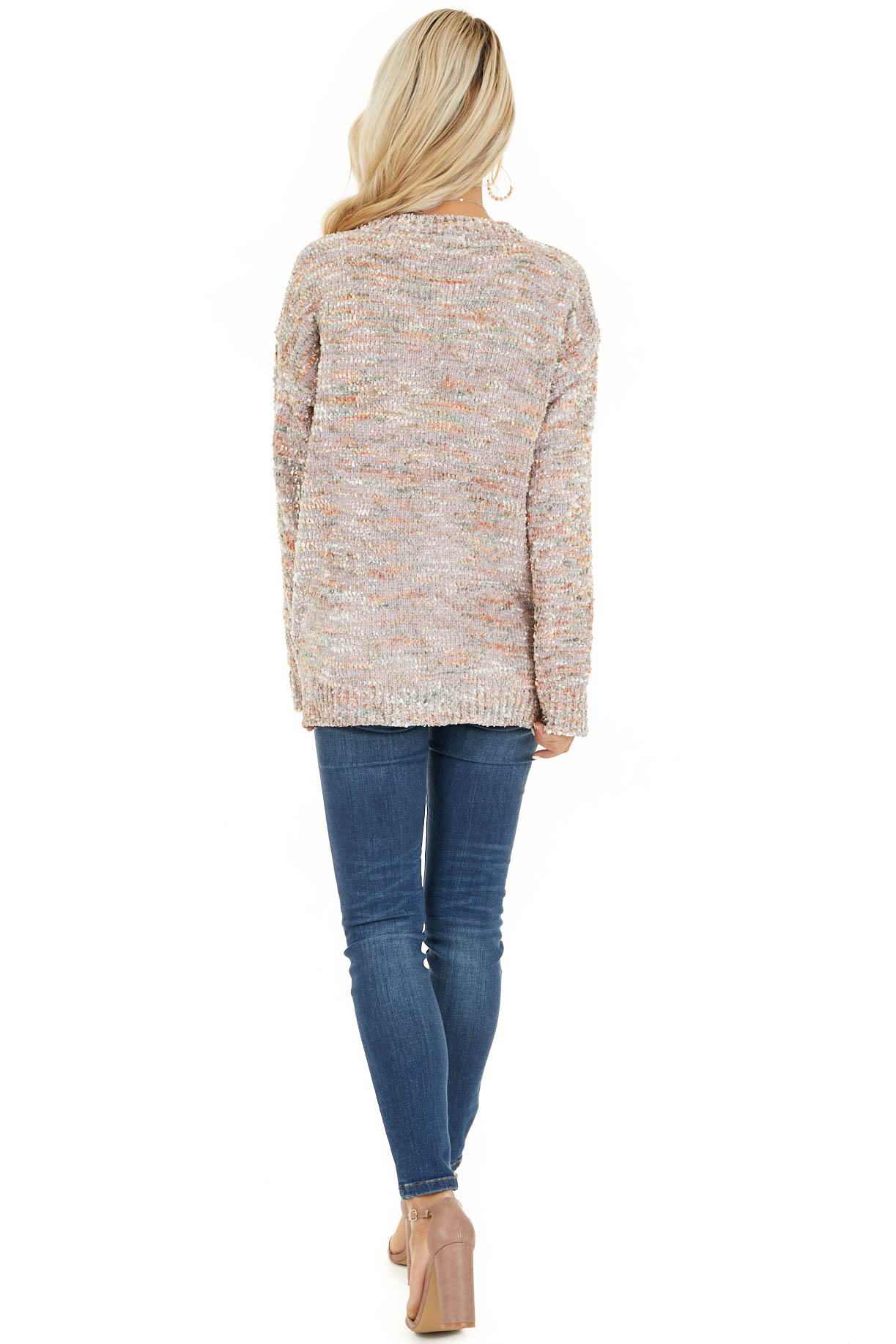 Shimmery Mauve Sage and Mango Textured Chenille Sweater back full body