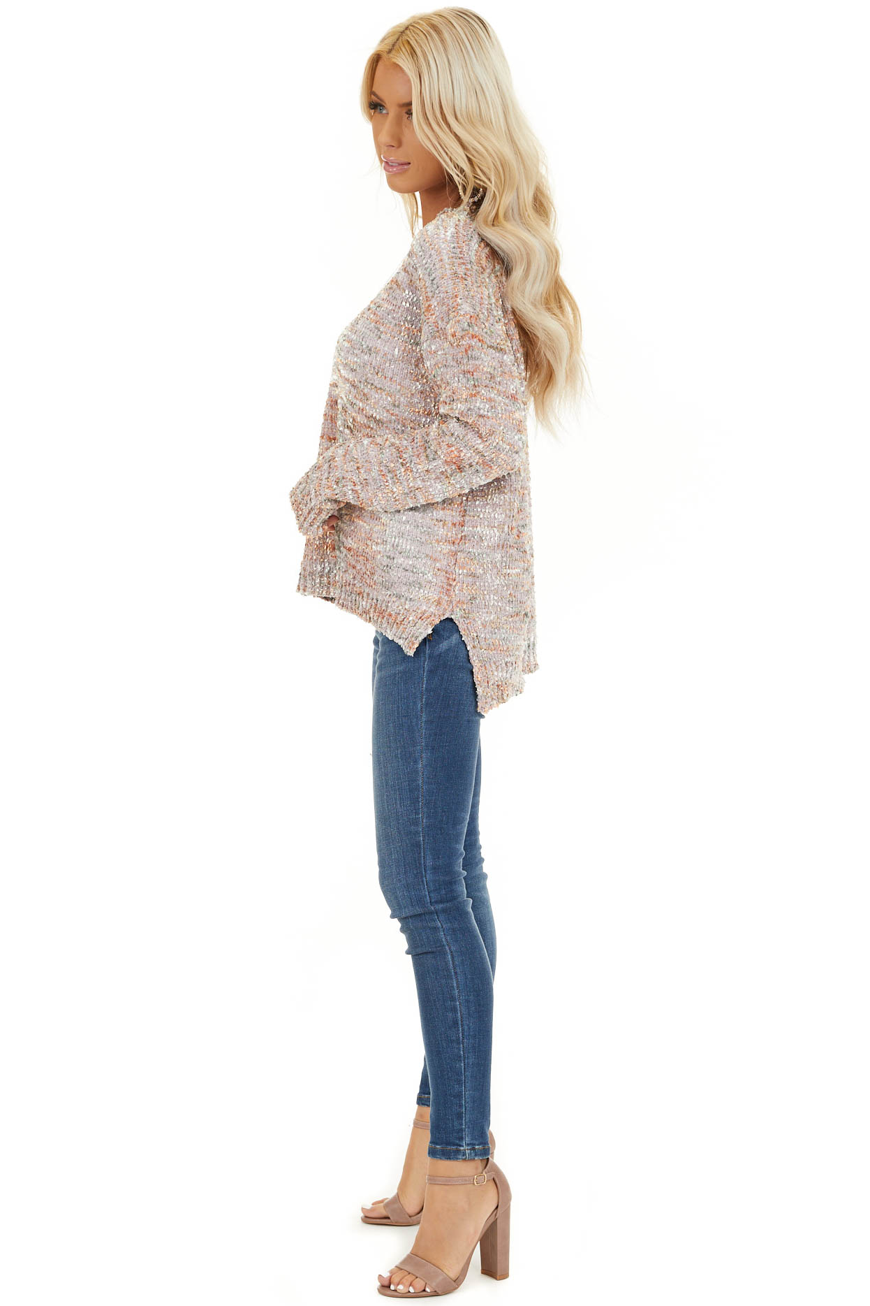 Shimmery Mauve Sage and Mango Textured Chenille Sweater side full body