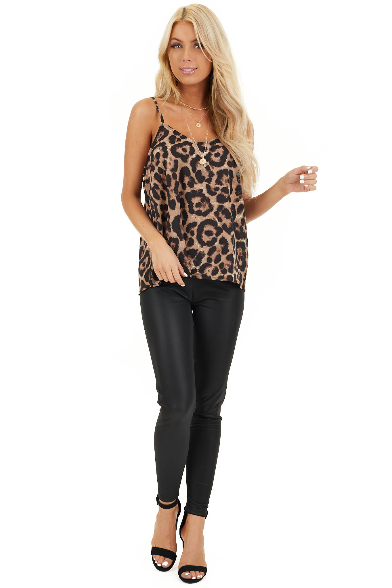 Camel Leopard Print V Neck Tank Top with Adjustable Straps front full body
