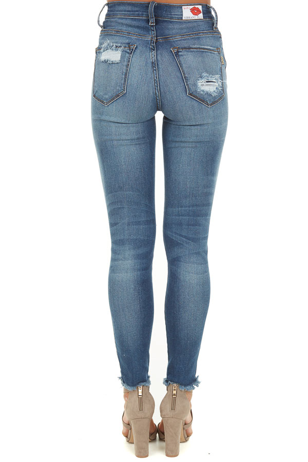 Medium Wash Denim Jeans with Distressed Details back view