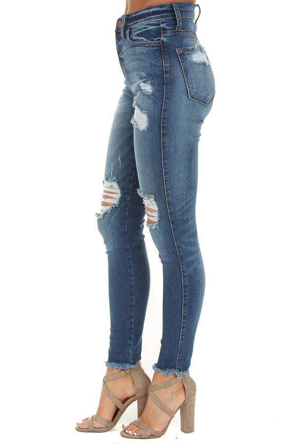 Medium Wash Denim Jeans with Distressed Details side view